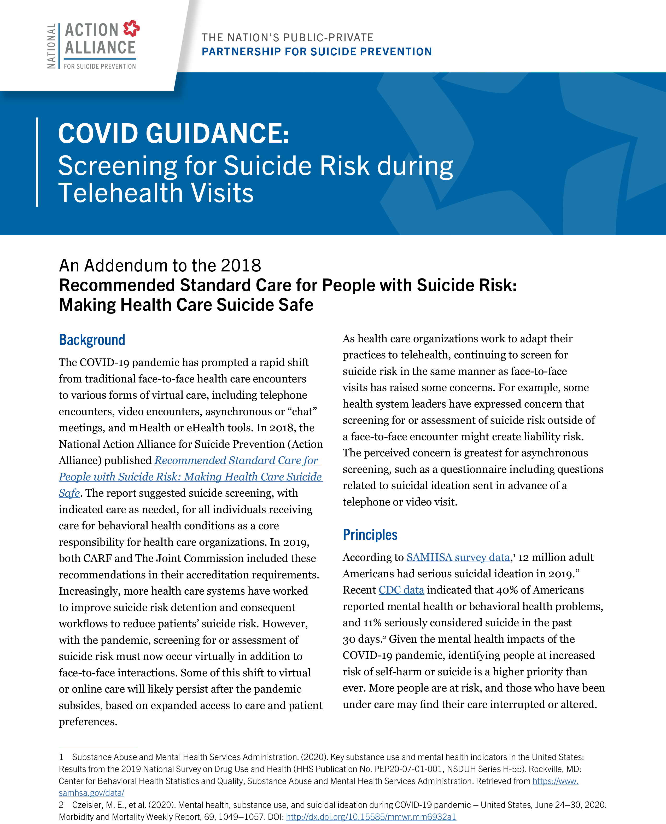 COVID Guidance: Screening for Suicide Risk during Telehealth Visits