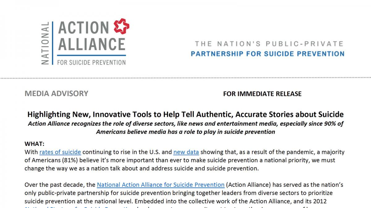 Highlighting New, Innovative Tools to Help Tell Authentic, Accurate Stories about Suicide