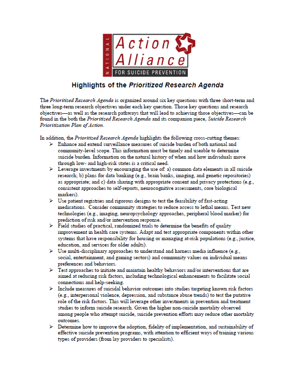 Highlights of Prioritized Agenda