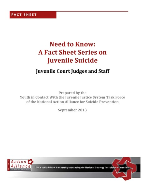 Need to Know: A Fact Sheet Series on Juvenile Justice for Juvenile Court Judges and Staff