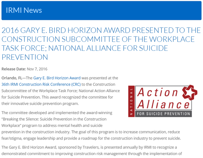 Press Release: Construction Committee's 2016 Gary Horizon Award for Innovation
