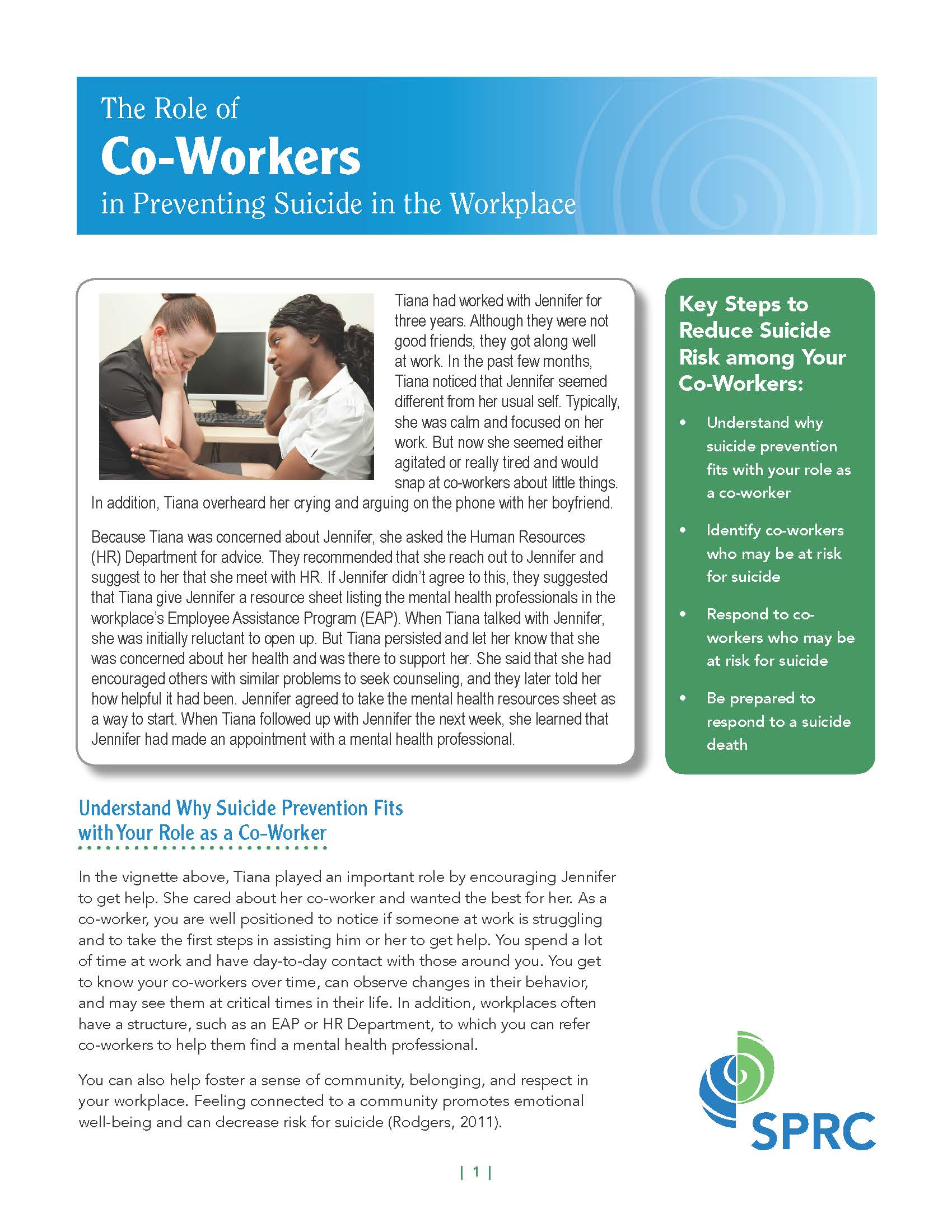 The Role of Co-Workers in Preventing Suicide